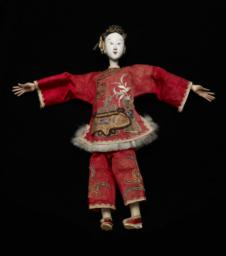 Chinese Female Figurine With Red Robe And White, Painted Face