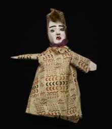 Female Hand Puppet With Kerchief And Purple Scarf