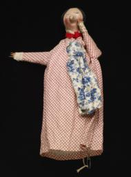 Female Hand Puppet With White, Red Dress And Blue, White Apron