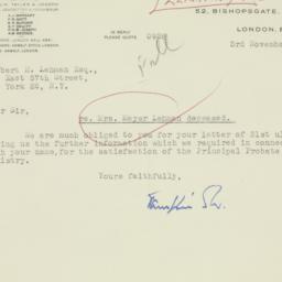 Envelope: 1947 November 3