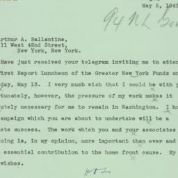 Telegram: 1943 May 5