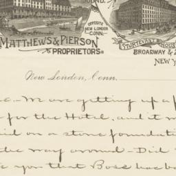 Fort Griswold House. Letter
