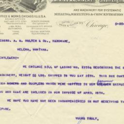 Fraser & Chalmers. Letter