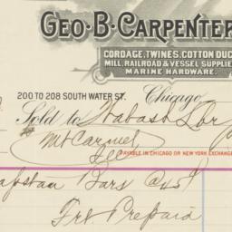 Geo. B. Carpenter & Co.. Bill