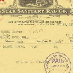Star Sanitary Rag Co.. Bill