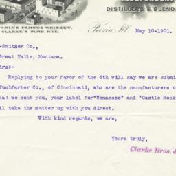 Clarke Bros. & Co.. Letter