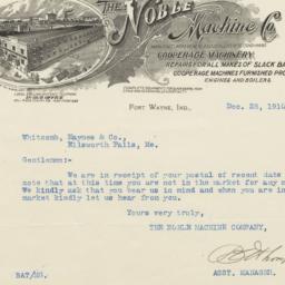 Noble Machine Co.. Letter