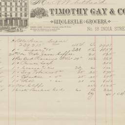 Timothy Gay & Co.. Bill