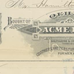Oehm's Acme Hall. Bill