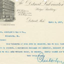 Detroit Lubricator Co.. Letter
