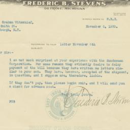 Frederic B. Stevens. Letter