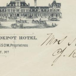 Union Depot Hotel. Envelope