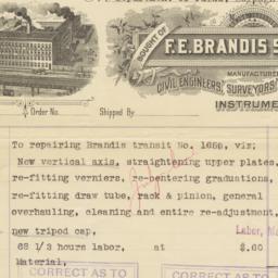 F. E. Brandis Sons & Co.. Bill