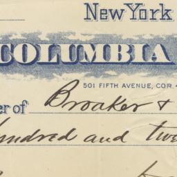 Columbia Bank. Check
