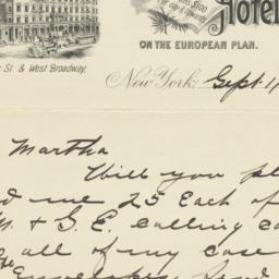 Cosmopolitan Hotel. Letter