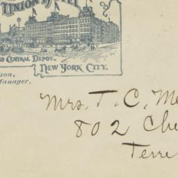 Grand Union Hotel. Envelope