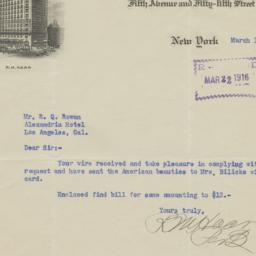 Hotel St. Regis. Letter