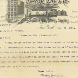 Mayor, Lane & Co.. Letter