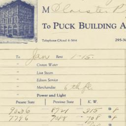 Puck Building Account. Bill