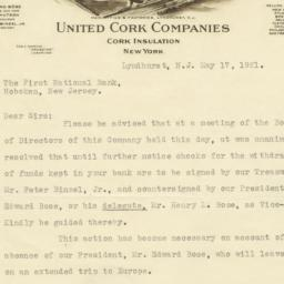 United Cork Companies. Letter