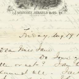 Cataract House. Letter