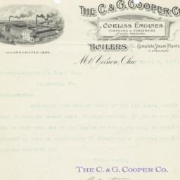 C. & G. Cooper Co.. Letter