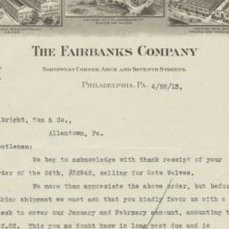 Fairbanks Company. Letter