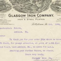 Glasgow Iron Company. Letter