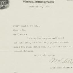 Warren National Bank. Letter