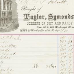 Taylor, Symonds & Co.. Bill