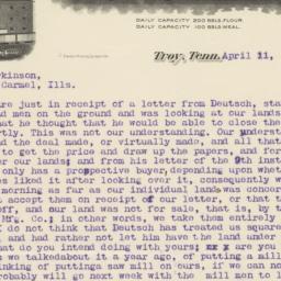 Troy Roller Mills. Letter