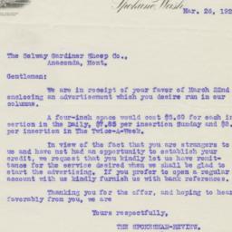 Spokesman Review. Letter