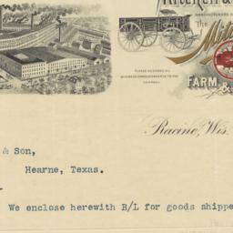 Mitchell & Lewis Co.. Bill