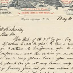 Capon Spring & Baths. Letter