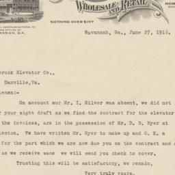 I. Silver & Bros.. Letter