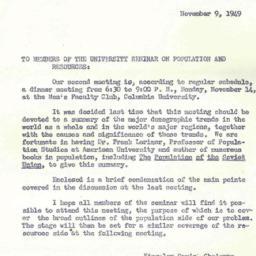 Announcements, 1949-11-09. ...