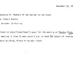 Announcements, 1972-11-30. ...