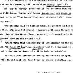 Announcements, 1967-03-21. ...