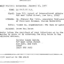 Announcements, 1974-01-23. ...