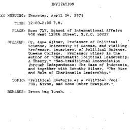Announcements, 1975-04-24. ...