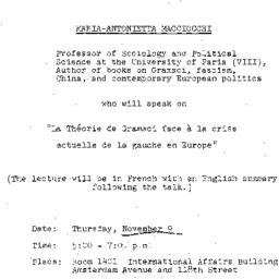 Announcements, 1979-11-09. ...