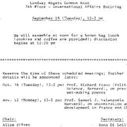 Announcements, 1984-09-18. ...