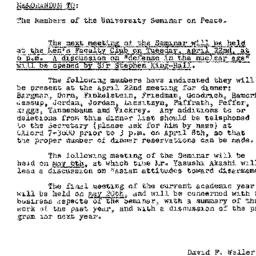 Announcements, 1958-04-14. ...