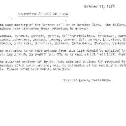 Announcements, 1958-10-17. ...
