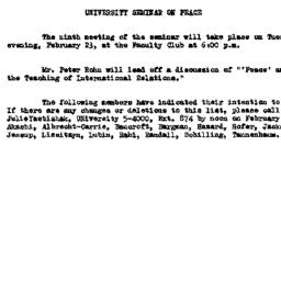 Announcements, 1960-02-09. ...