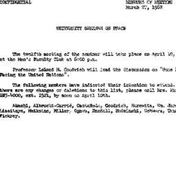 Announcements, 1962-03-27. ...