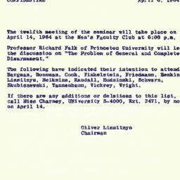 Announcements, 1964-04-06. ...