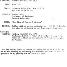 Announcements, 1972-11-13. ...