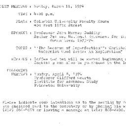 Announcements, 1974-03-11. ...