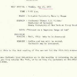Announcements, 1975-05-12. ...
